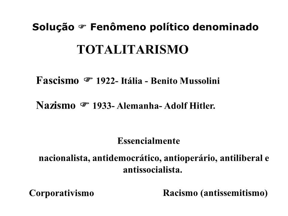 TOTALITARISMO Fascismo  1922- Itália - Benito Mussolini