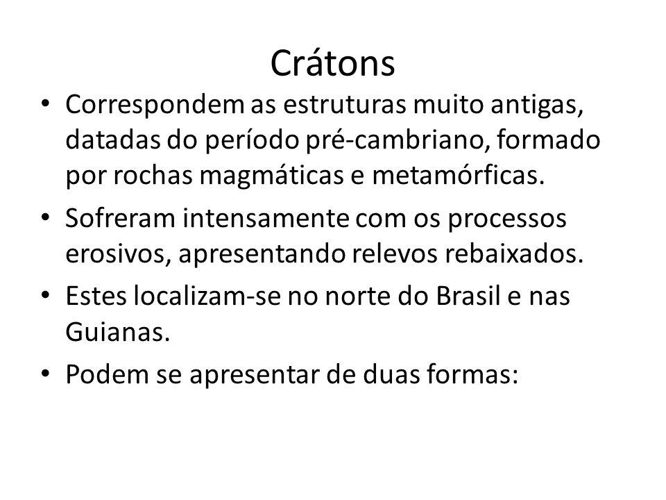Crátons Correspondem as estruturas muito antigas, datadas do período pré-cambriano, formado por rochas magmáticas e metamórficas.