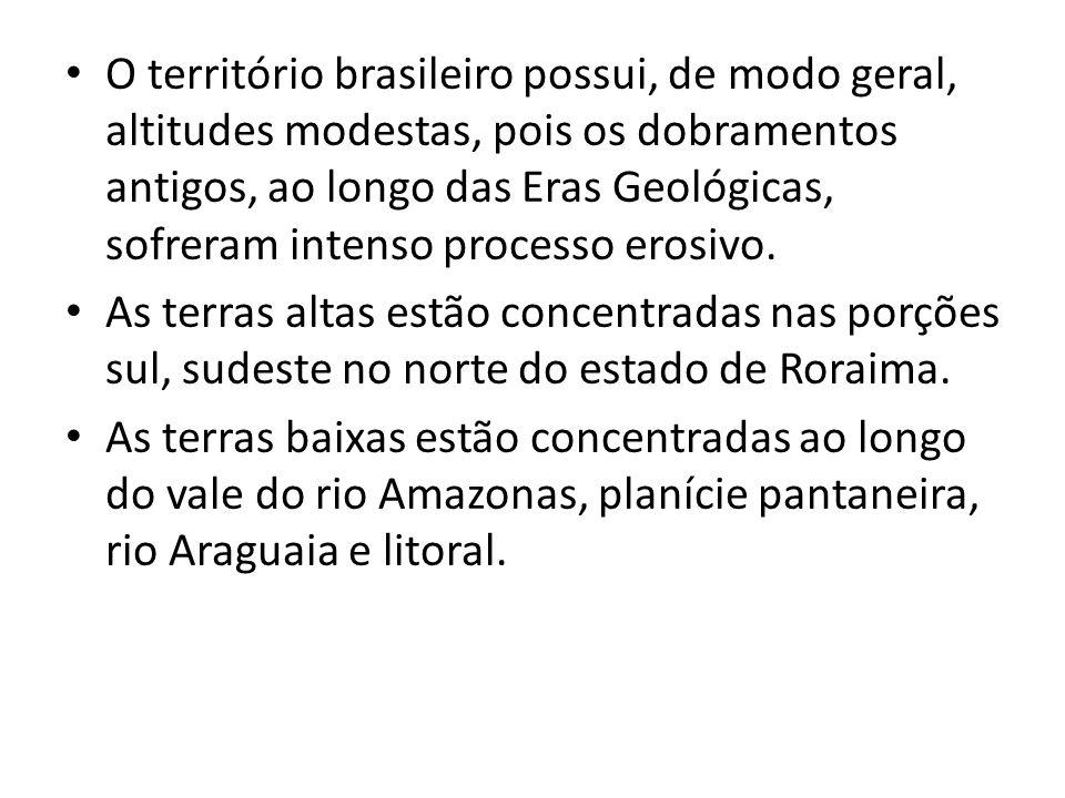 O território brasileiro possui, de modo geral, altitudes modestas, pois os dobramentos antigos, ao longo das Eras Geológicas, sofreram intenso processo erosivo.