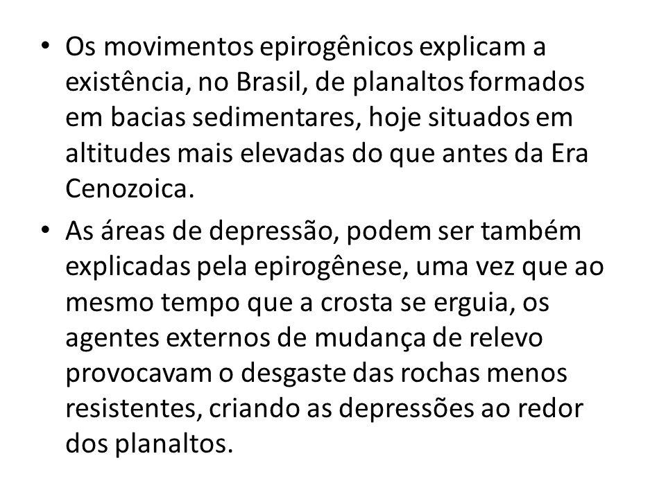 Os movimentos epirogênicos explicam a existência, no Brasil, de planaltos formados em bacias sedimentares, hoje situados em altitudes mais elevadas do que antes da Era Cenozoica.