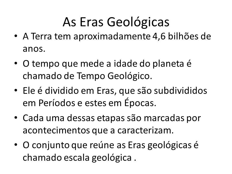 As Eras Geológicas A Terra tem aproximadamente 4,6 bilhões de anos.