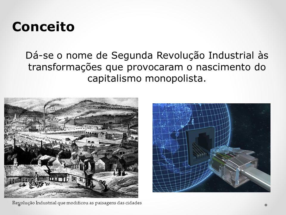 Conceito Dá-se o nome de Segunda Revolução Industrial às transformações que provocaram o nascimento do capitalismo monopolista.