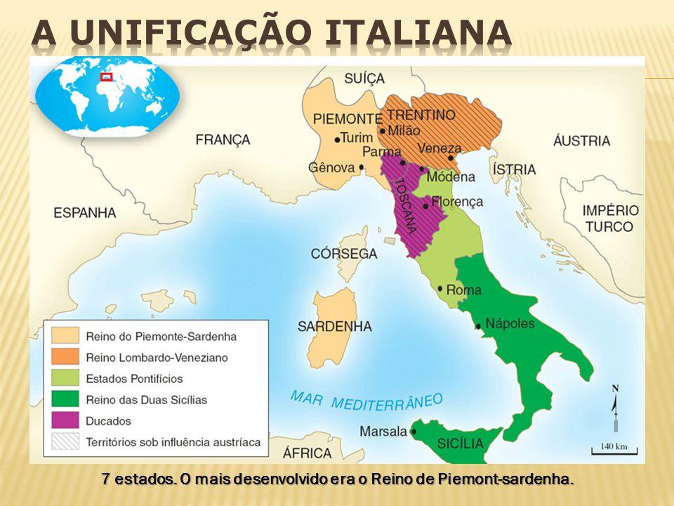7 estados. O mais desenvolvido era o Reino de Piemont-sardenha.