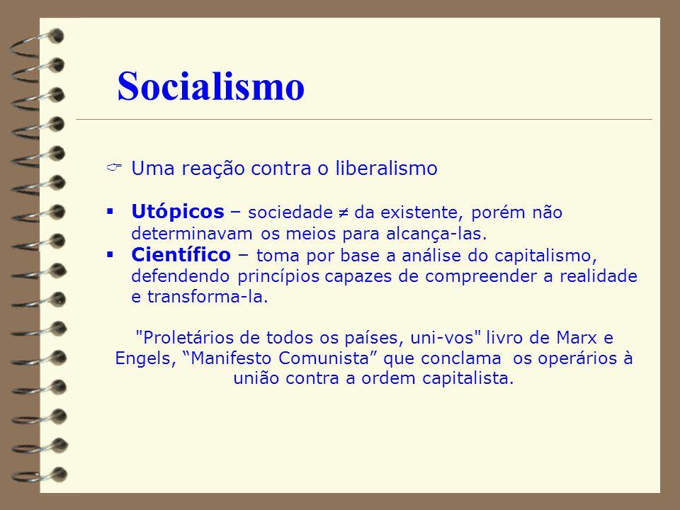 Socialismo Uma reação contra o liberalismo