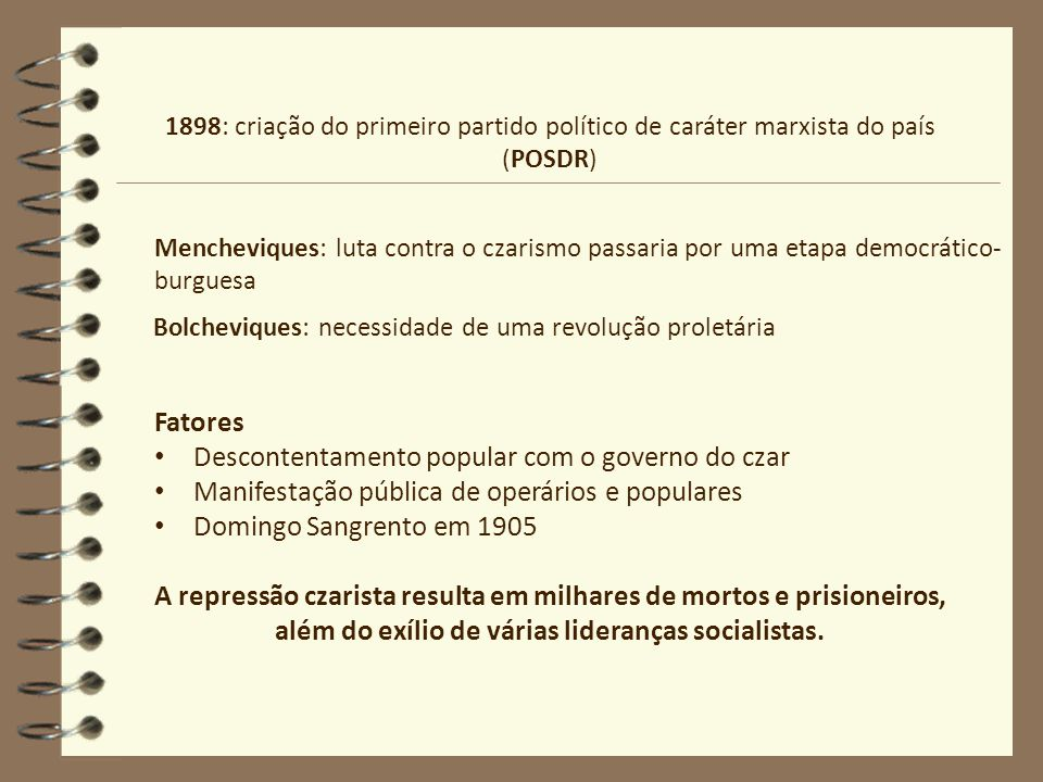 Descontentamento popular com o governo do czar