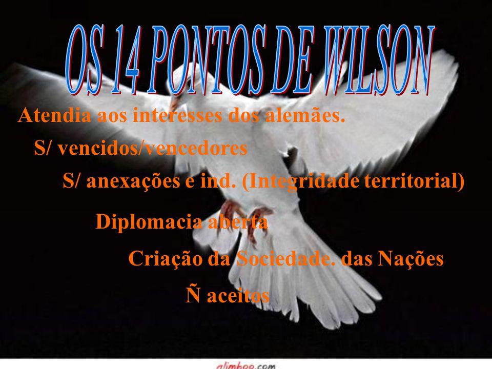 OS 14 PONTOS DE WILSON Atendia aos interesses dos alemães.