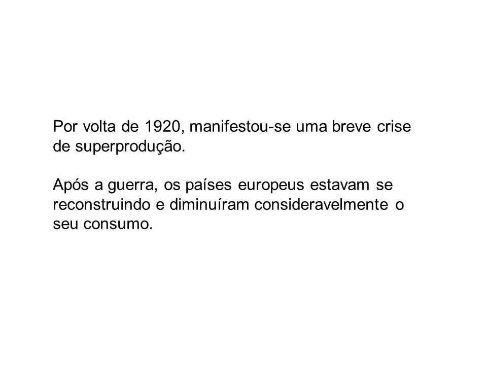 Por volta de 1920, manifestou-se uma breve crise de superprodução.