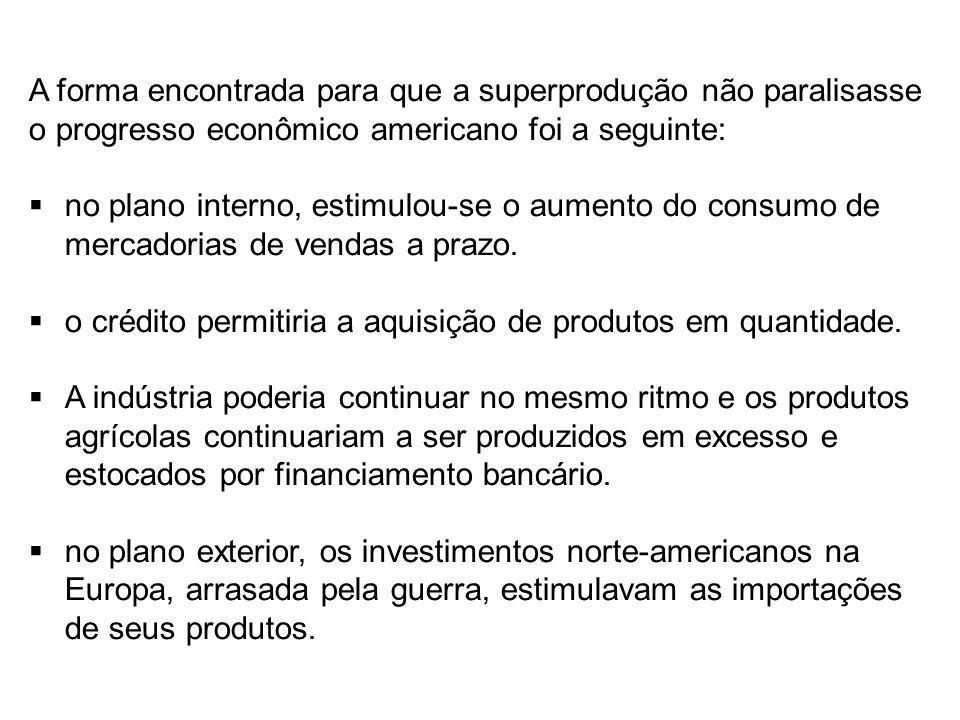 A forma encontrada para que a superprodução não paralisasse o progresso econômico americano foi a seguinte: