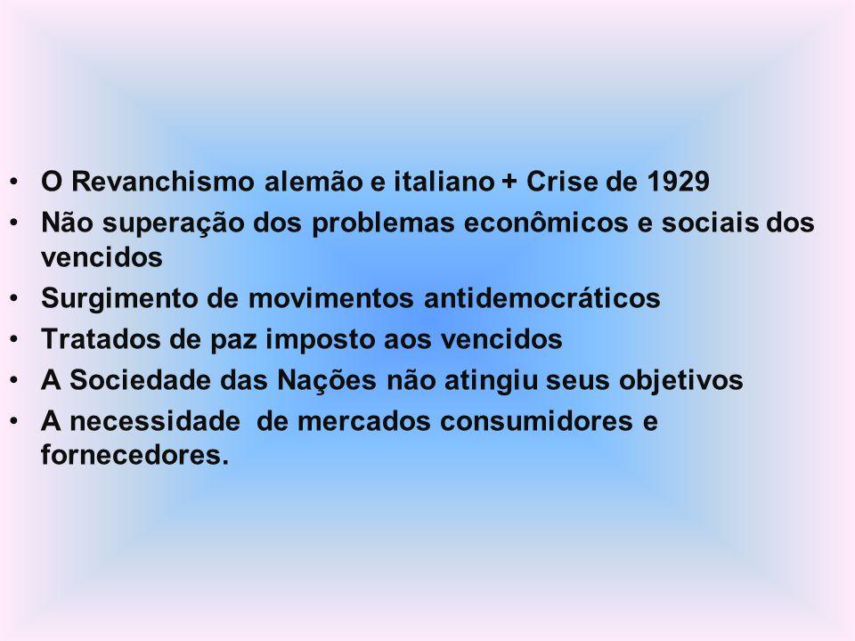 O Revanchismo alemão e italiano + Crise de 1929