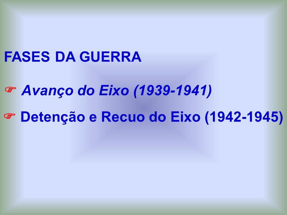 FASES DA GUERRA  Avanço do Eixo (1939-1941)  Detenção e Recuo do Eixo (1942-1945)