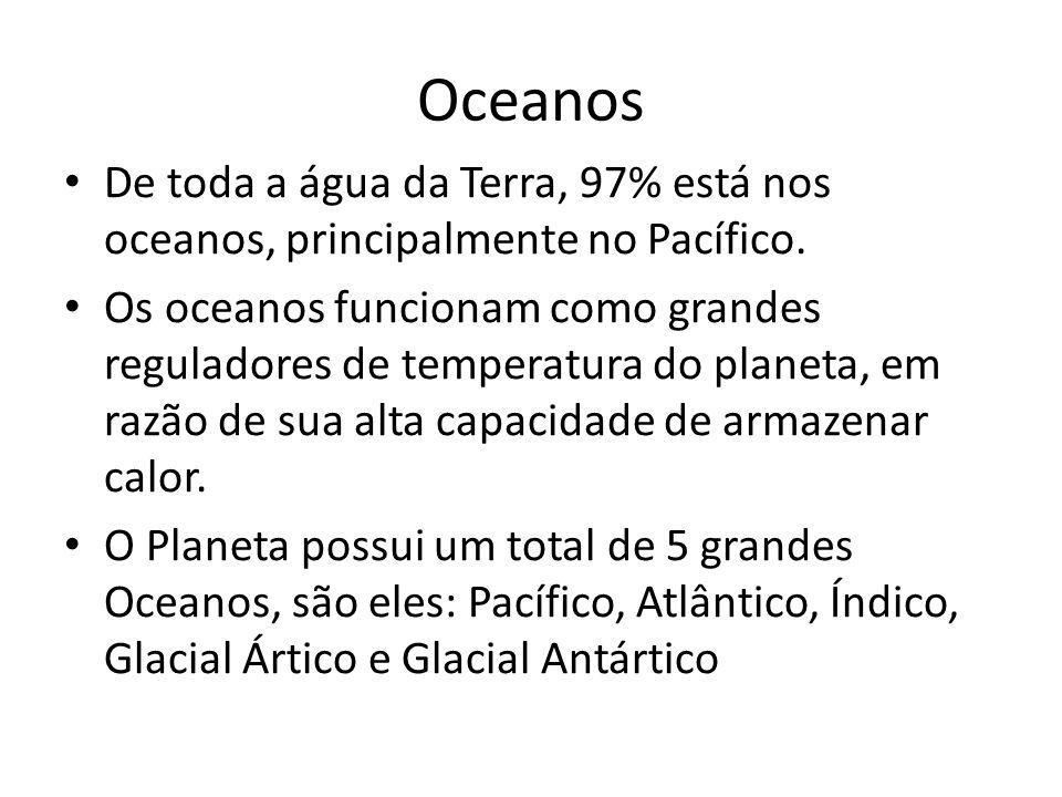 Oceanos De toda a água da Terra, 97% está nos oceanos, principalmente no Pacífico.