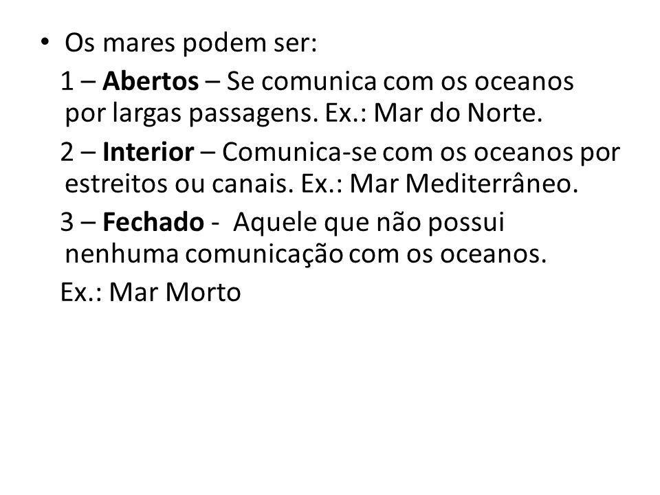 Os mares podem ser: 1 – Abertos – Se comunica com os oceanos por largas passagens. Ex.: Mar do Norte.