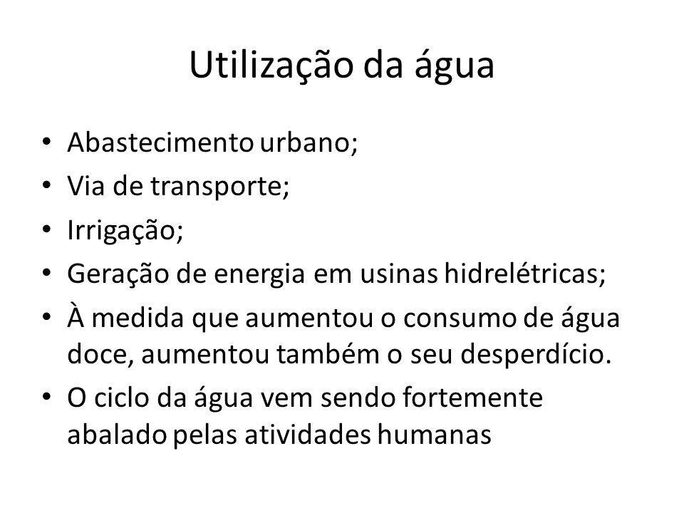 Utilização da água Abastecimento urbano; Via de transporte; Irrigação;
