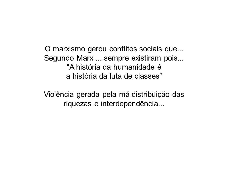 O marxismo gerou conflitos sociais que...
