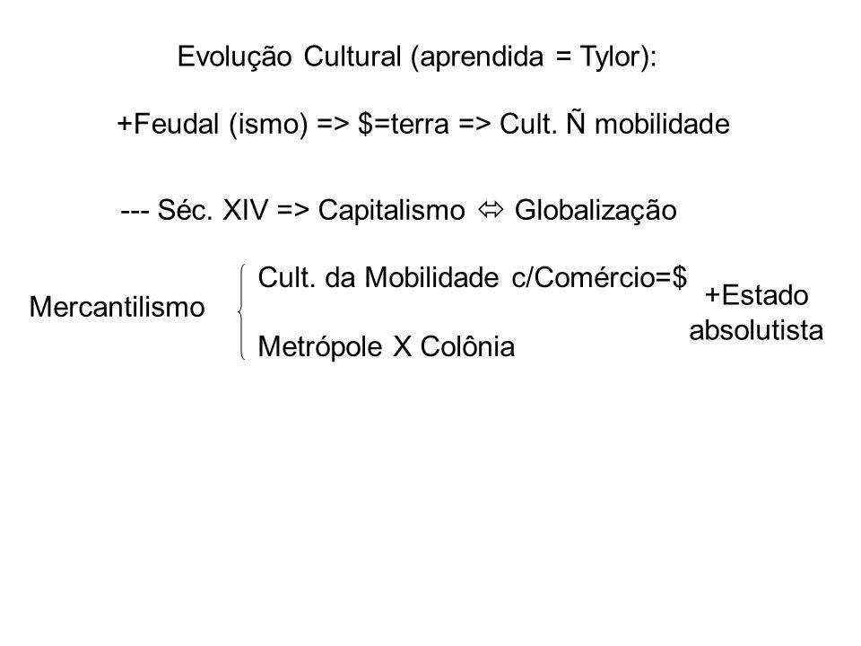 Evolução Cultural (aprendida = Tylor):
