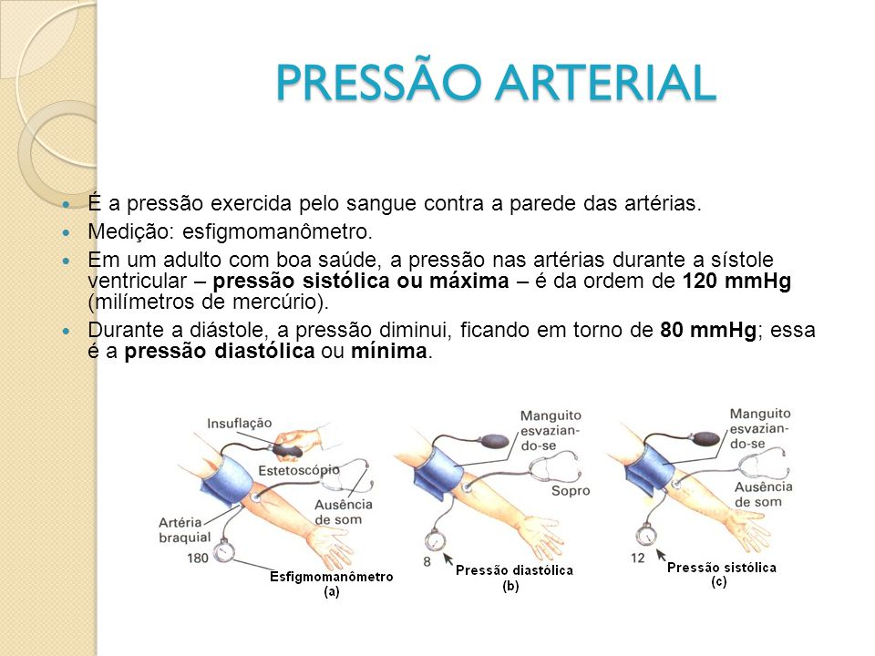PRESSÃO ARTERIAL É a pressão exercida pelo sangue contra a parede das artérias. Medição: esfigmomanômetro.