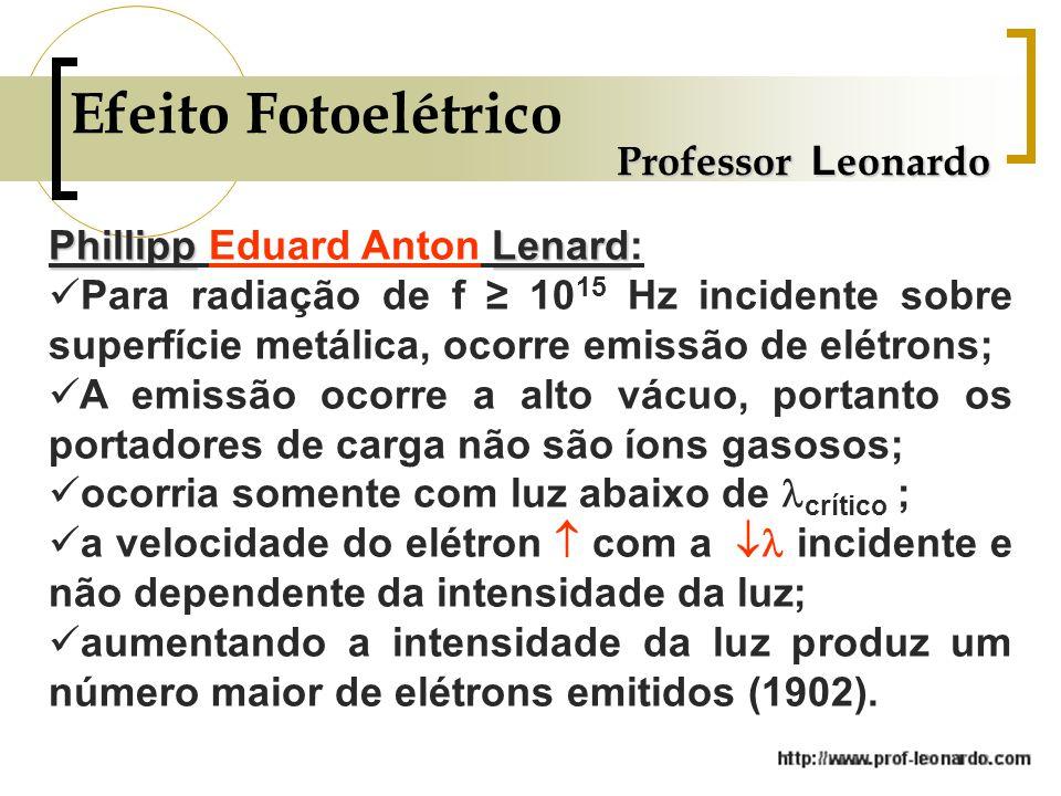 Efeito Fotoelétrico Professor Leonardo Phillipp Eduard Anton Lenard: