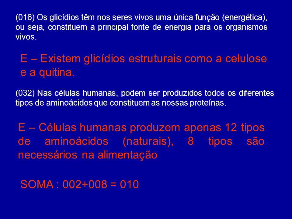 E – Existem glicídios estruturais como a celulose e a quitina.