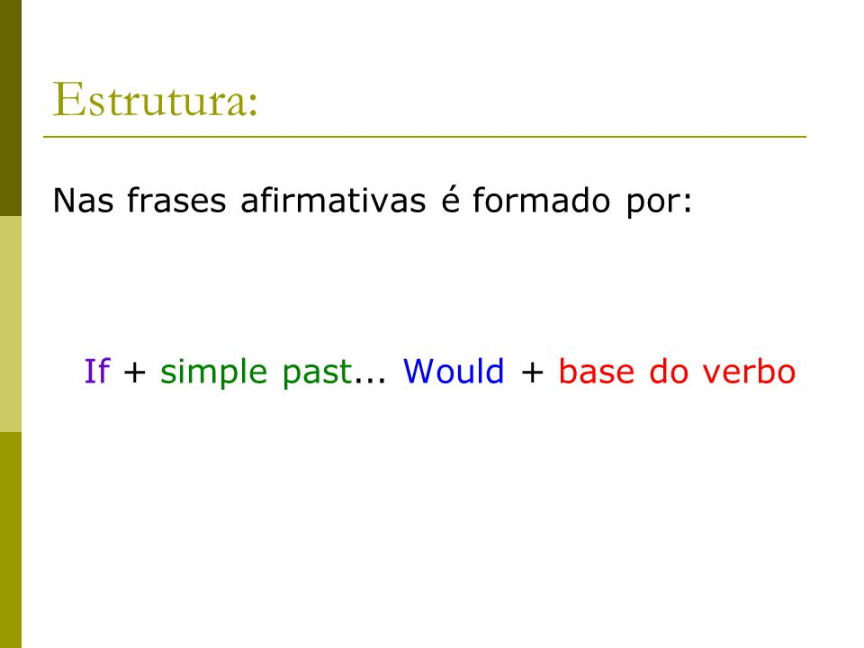 If + simple past... Would + base do verbo