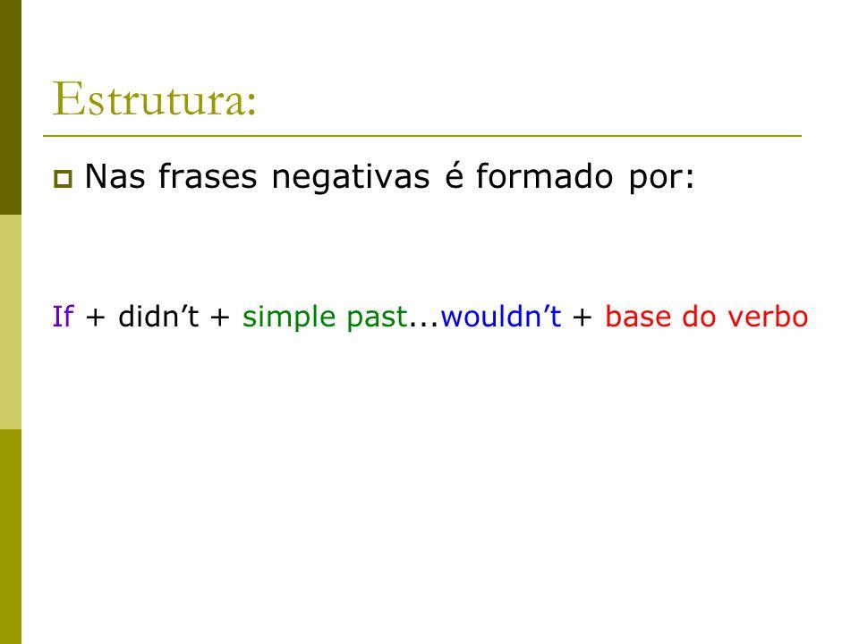 Estrutura: Nas frases negativas é formado por: