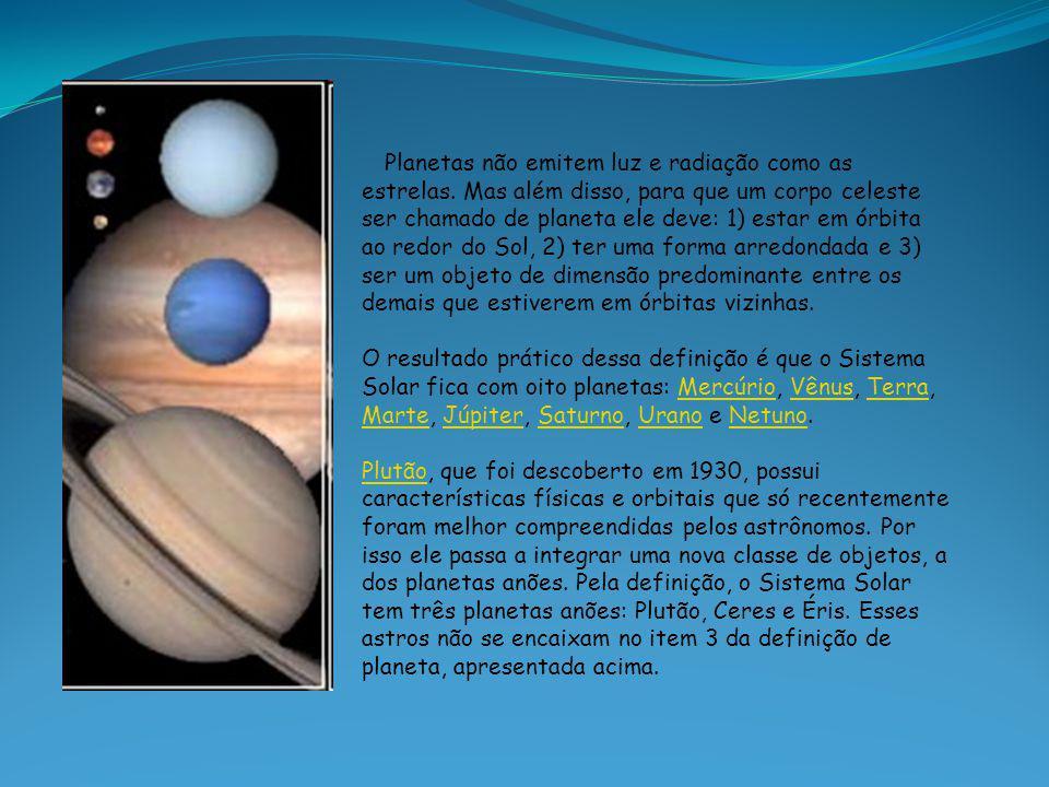 Planetas não emitem luz e radiação como as estrelas