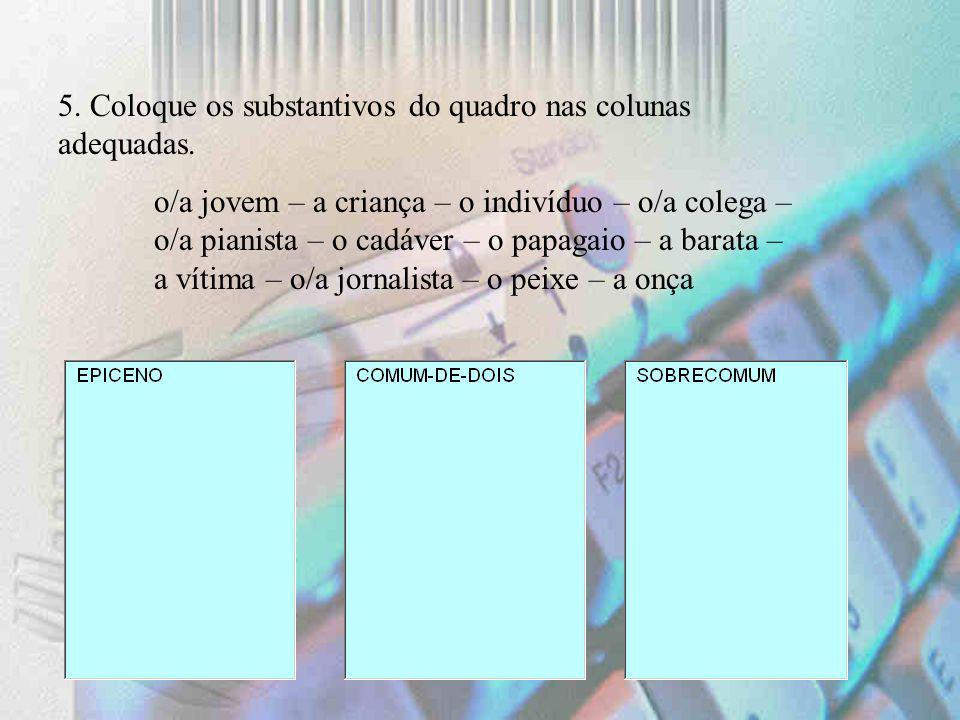 5. Coloque os substantivos do quadro nas colunas adequadas.