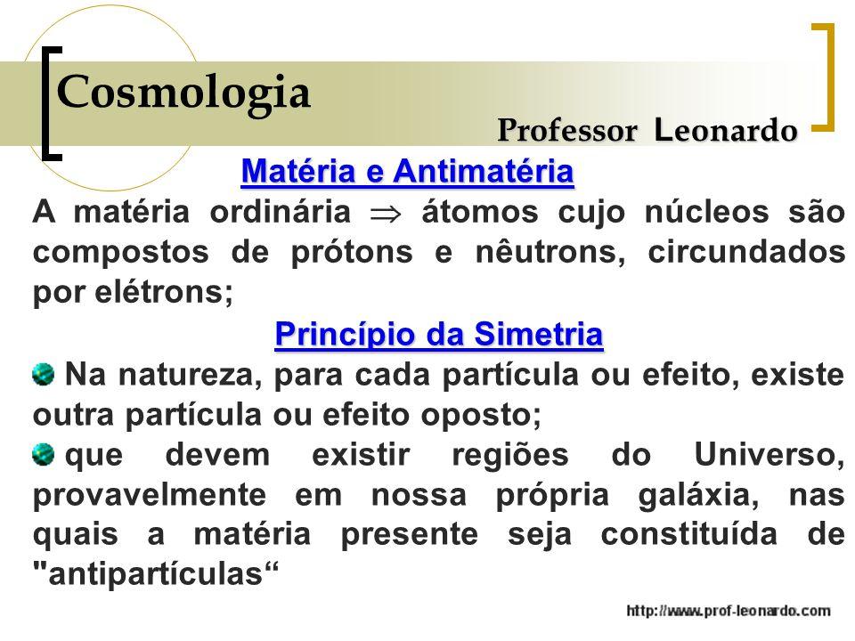 Cosmologia Professor Leonardo Matéria e Antimatéria