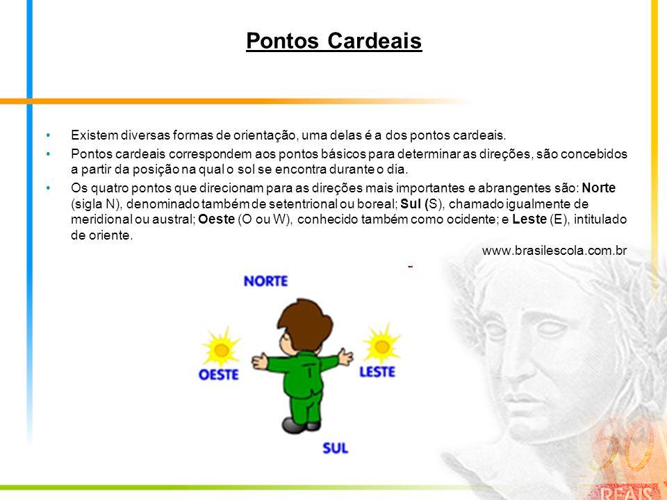 Pontos Cardeais Existem diversas formas de orientação, uma delas é a dos pontos cardeais.
