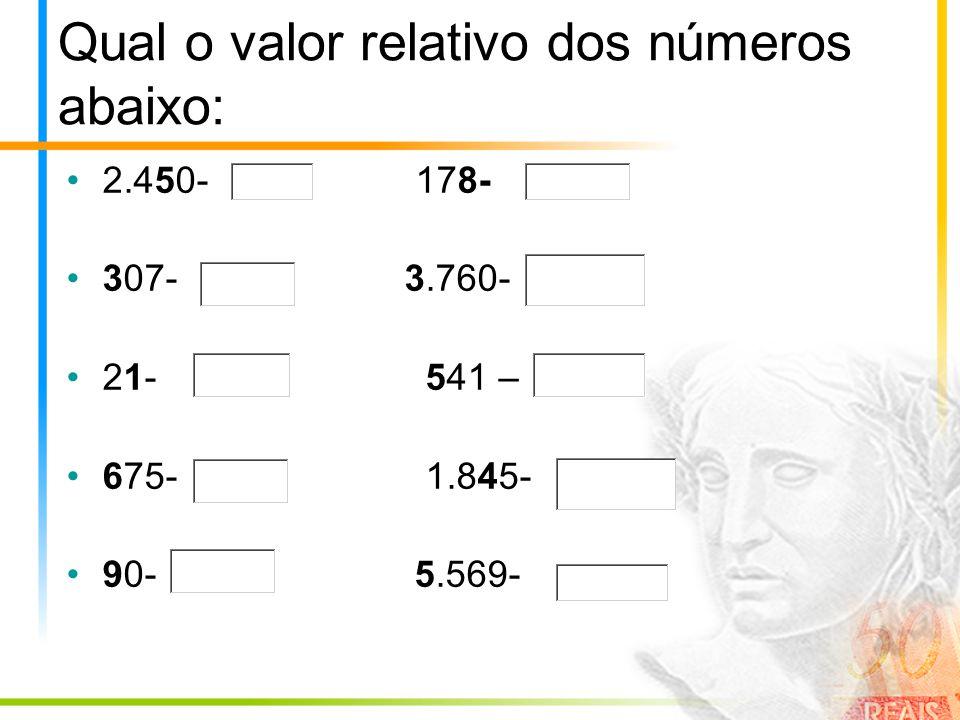 Qual o valor relativo dos números abaixo: