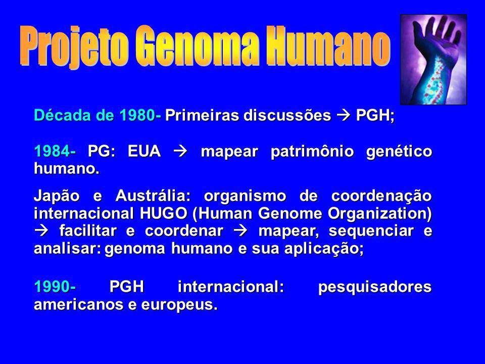 Projeto Genoma Humano Década de 1980- Primeiras discussões  PGH;