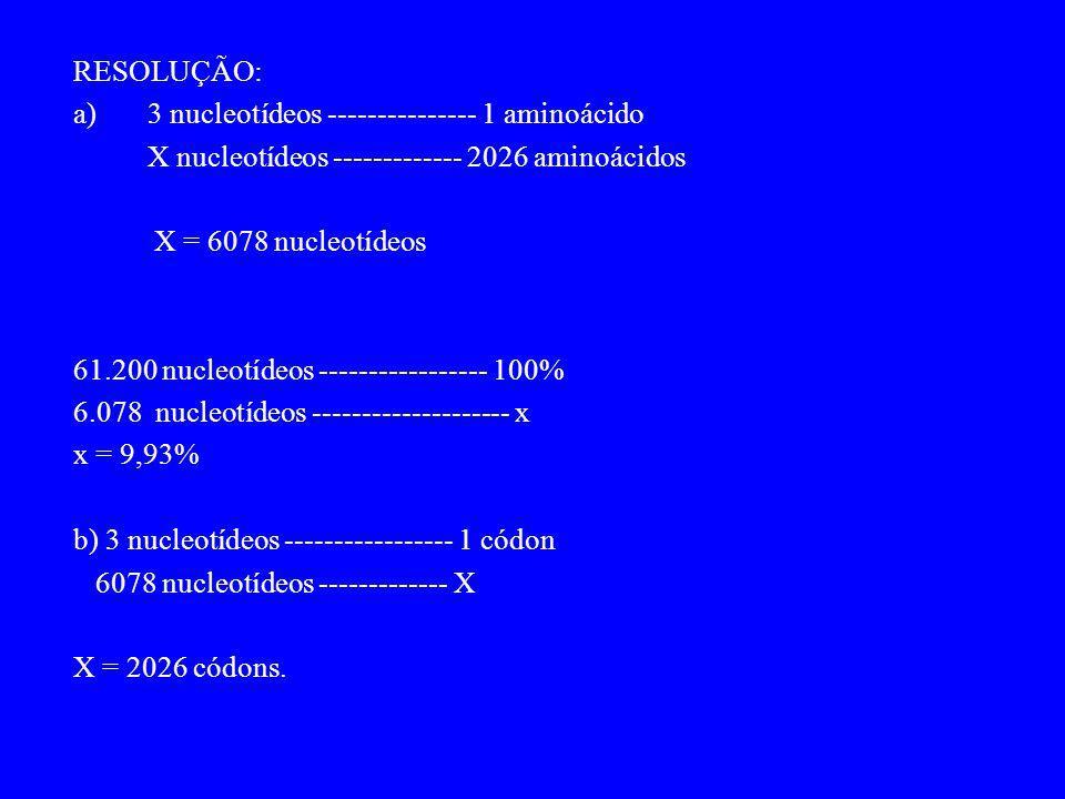 RESOLUÇÃO: a) 3 nucleotídeos --------------- 1 aminoácido. X nucleotídeos ------------- 2026 aminoácidos.