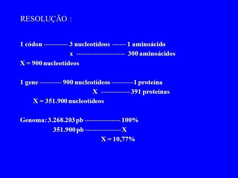RESOLUÇÃO : 1 códon ----------- 3 nucleotídeos ------ 1 aminoácido