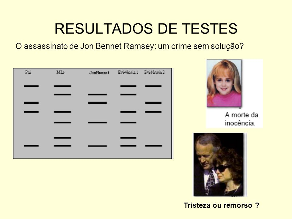 RESULTADOS DE TESTES O assassinato de Jon Bennet Ramsey: um crime sem solução.
