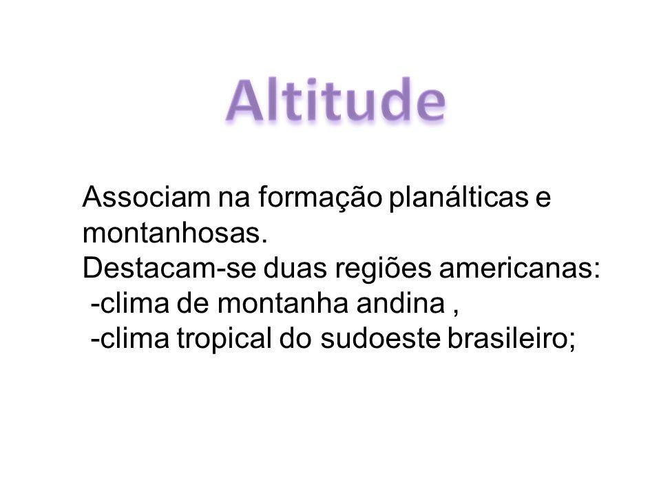 Altitude Associam na formação planálticas e montanhosas.