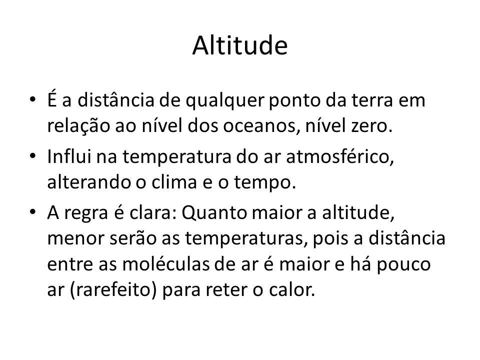 Altitude É a distância de qualquer ponto da terra em relação ao nível dos oceanos, nível zero.