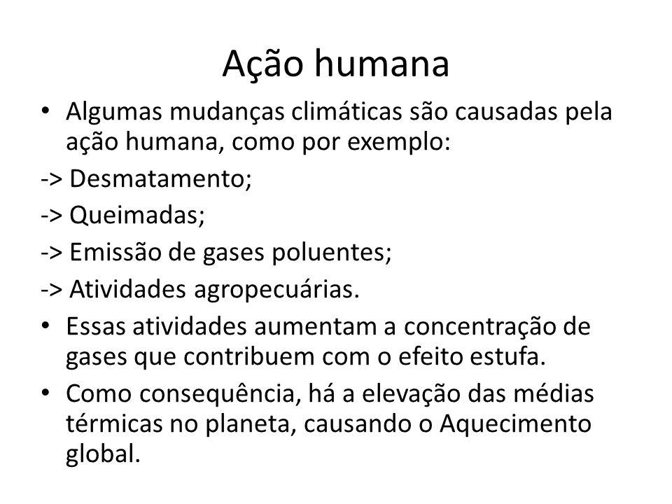 Ação humana Algumas mudanças climáticas são causadas pela ação humana, como por exemplo: -> Desmatamento;