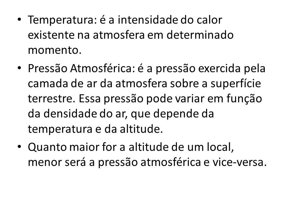 Temperatura: é a intensidade do calor existente na atmosfera em determinado momento.