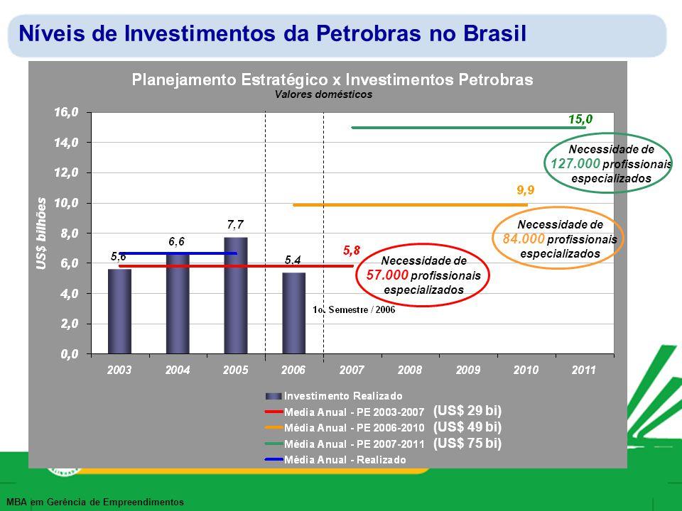 Níveis de Investimentos da Petrobras no Brasil
