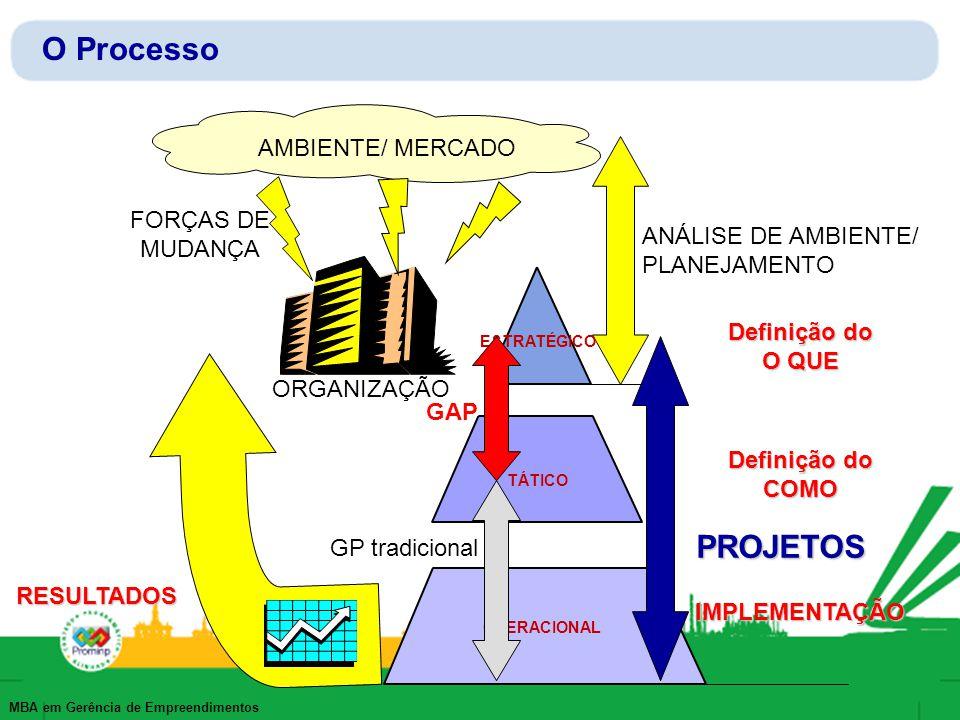 O Processo PROJETOS AMBIENTE/ MERCADO FORÇAS DE MUDANÇA