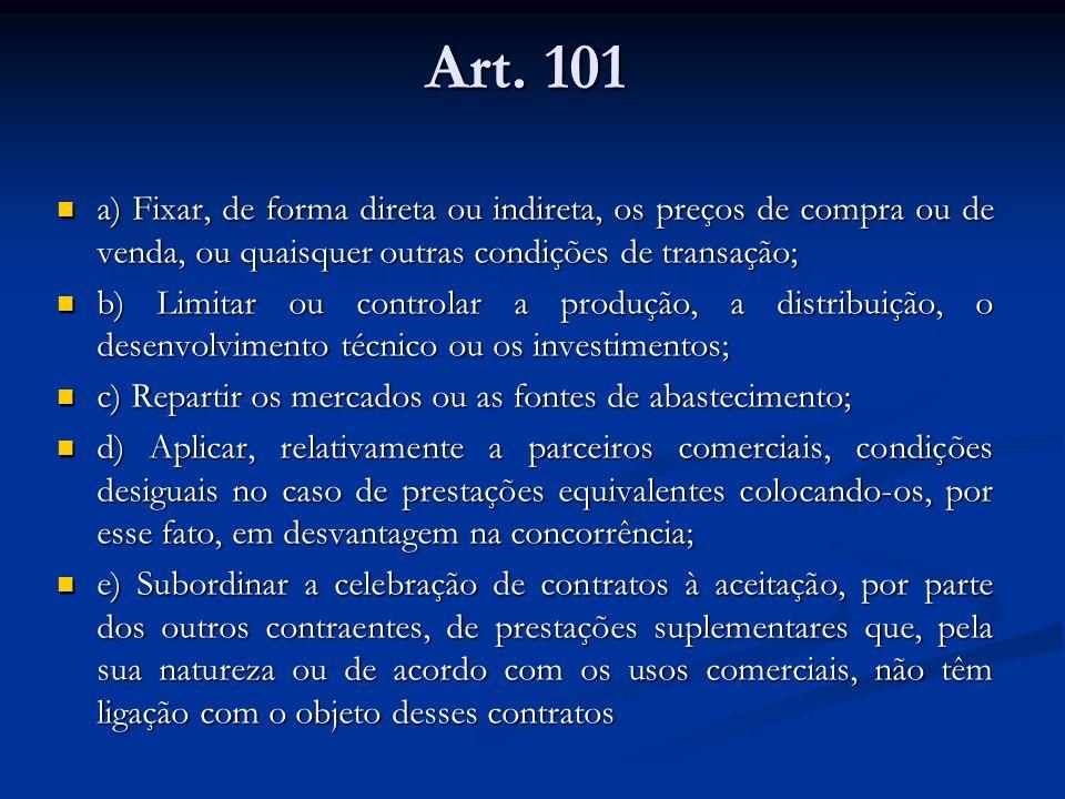 Art. 101 a) Fixar, de forma direta ou indireta, os preços de compra ou de venda, ou quaisquer outras condições de transação;