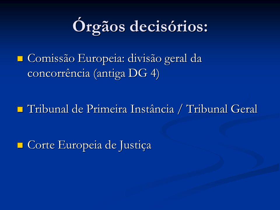 Órgãos decisórios: Comissão Europeia: divisão geral da concorrência (antiga DG 4) Tribunal de Primeira Instância / Tribunal Geral.