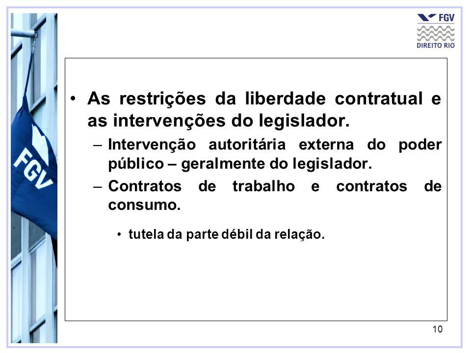 As restrições da liberdade contratual e as intervenções do legislador.