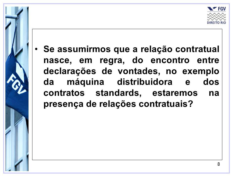 Se assumirmos que a relação contratual nasce, em regra, do encontro entre declarações de vontades, no exemplo da máquina distribuidora e dos contratos standards, estaremos na presença de relações contratuais