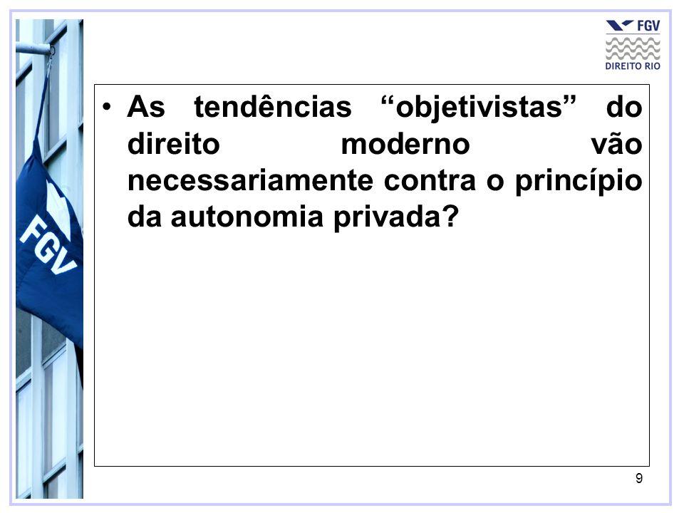 As tendências objetivistas do direito moderno vão necessariamente contra o princípio da autonomia privada