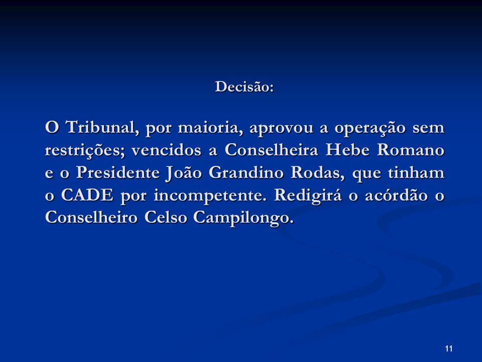 Decisão: O Tribunal, por maioria, aprovou a operação sem restrições; vencidos a Conselheira Hebe Romano e o Presidente João Grandino Rodas, que tinham o CADE por incompetente.