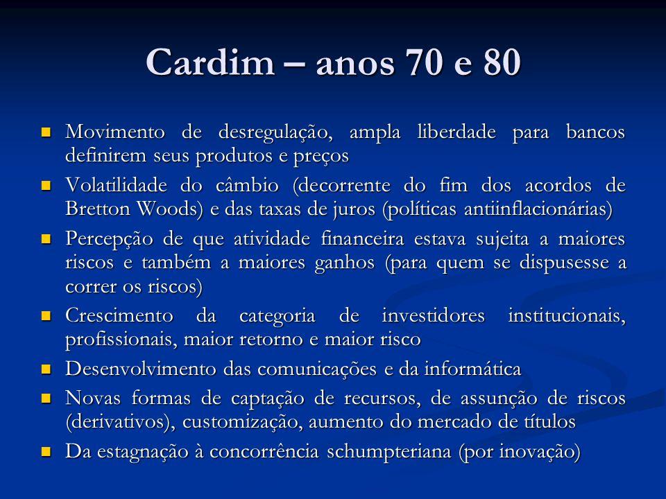 Cardim – anos 70 e 80 Movimento de desregulação, ampla liberdade para bancos definirem seus produtos e preços.