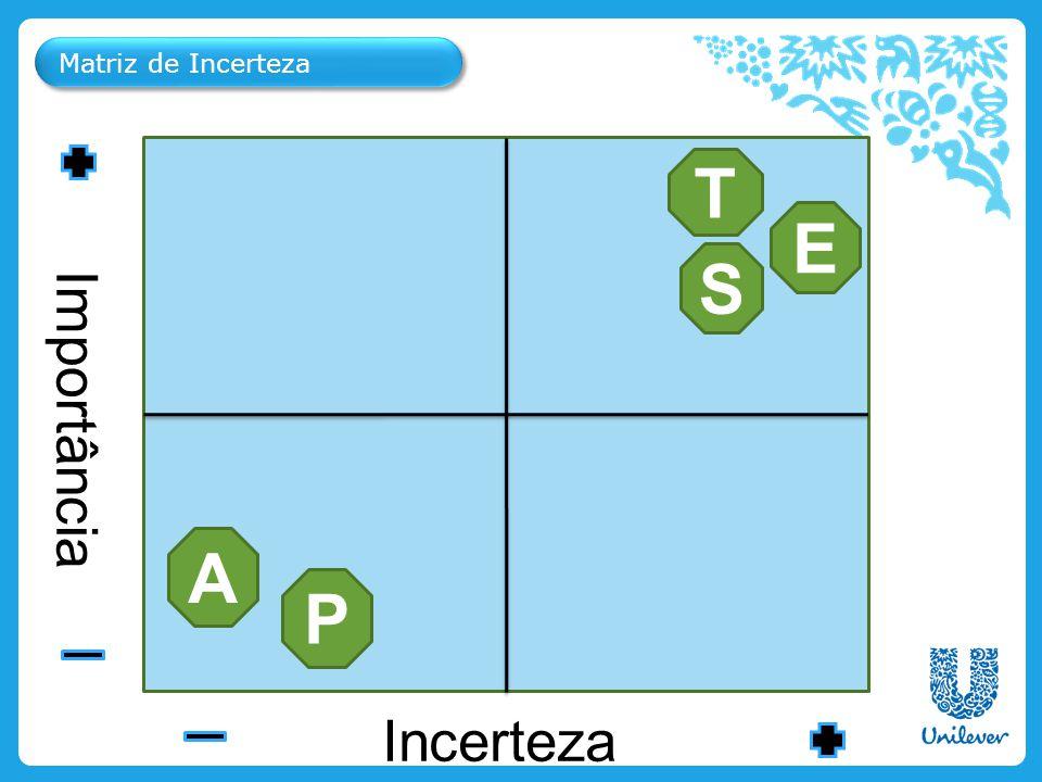 T E S A P Importância Incerteza Matriz de Incerteza Personal Care