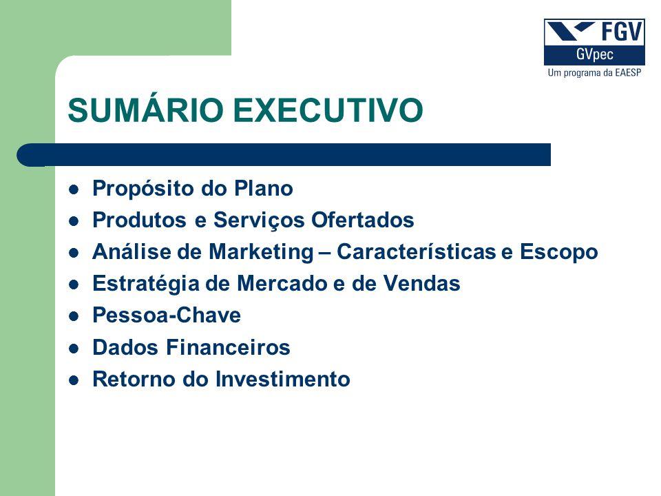 SUMÁRIO EXECUTIVO Propósito do Plano Produtos e Serviços Ofertados