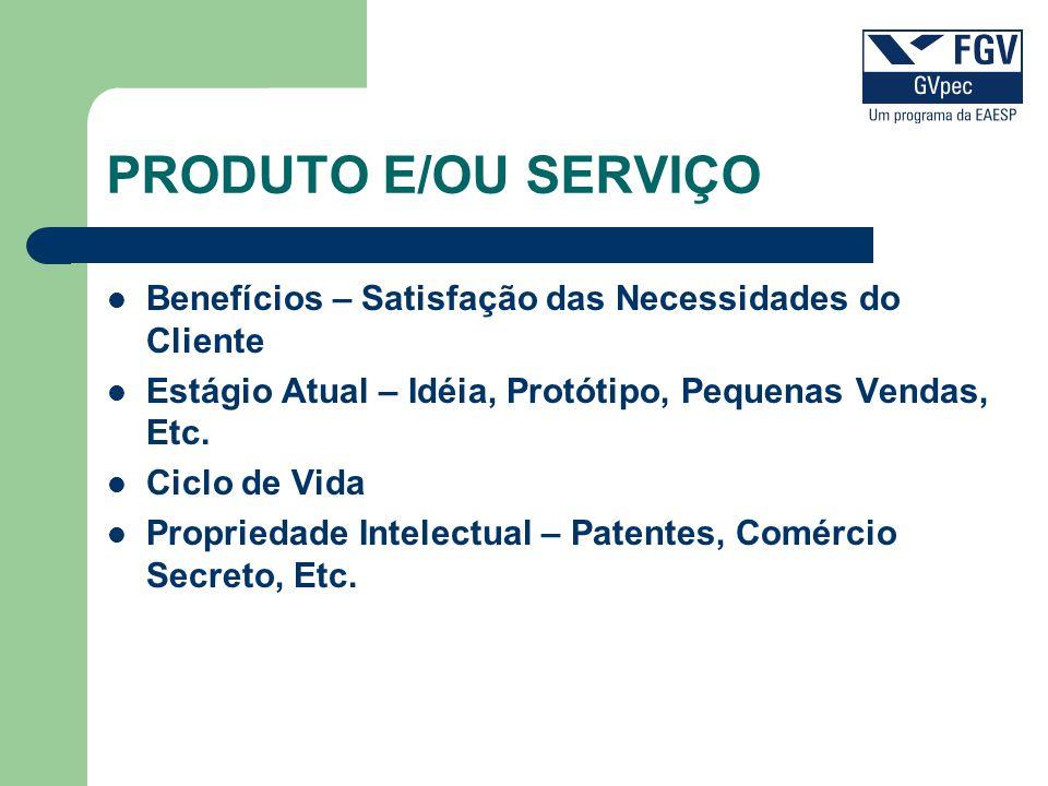 PRODUTO E/OU SERVIÇO Benefícios – Satisfação das Necessidades do Cliente. Estágio Atual – Idéia, Protótipo, Pequenas Vendas, Etc.