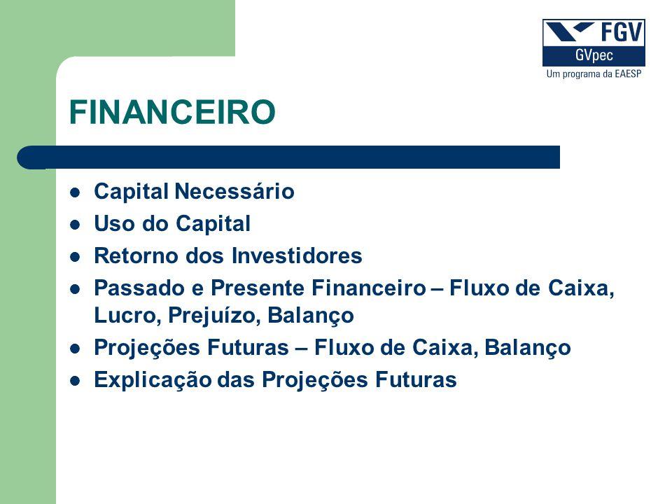 FINANCEIRO Capital Necessário Uso do Capital Retorno dos Investidores
